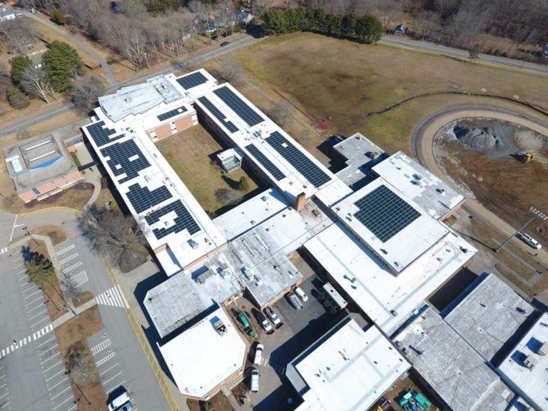 Ledyard  high school (864 panels)  Installer Sun Wind Solutions / Developer Green Skies renewables